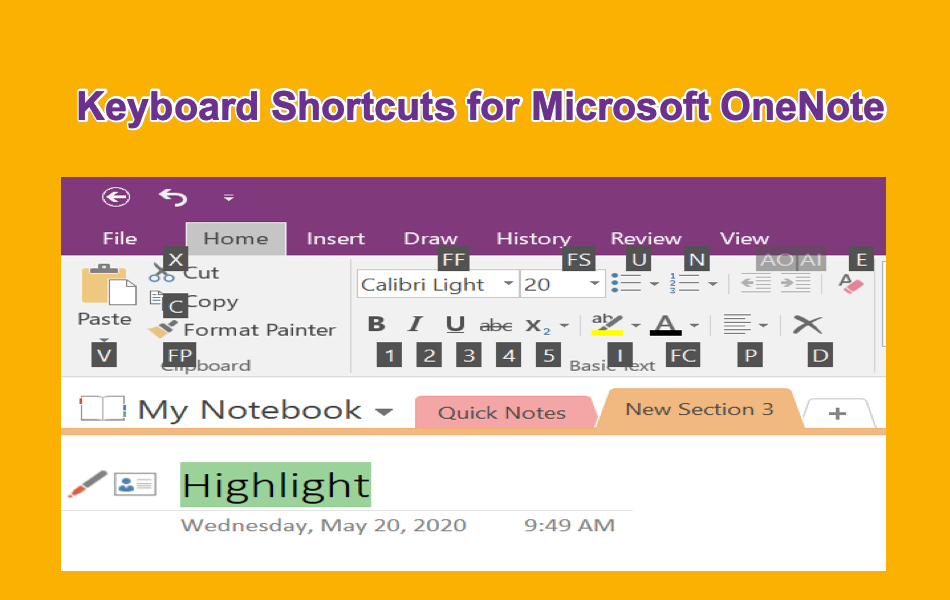 Keyboard Shortcuts for Microsoft OneNote