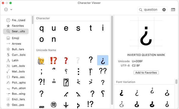 Question Mark Symbols in Mac