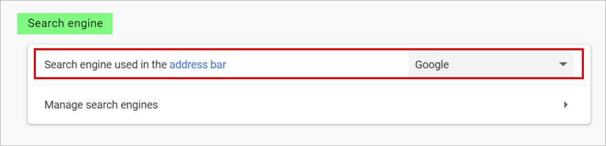 Search Engine Setting in Chrome