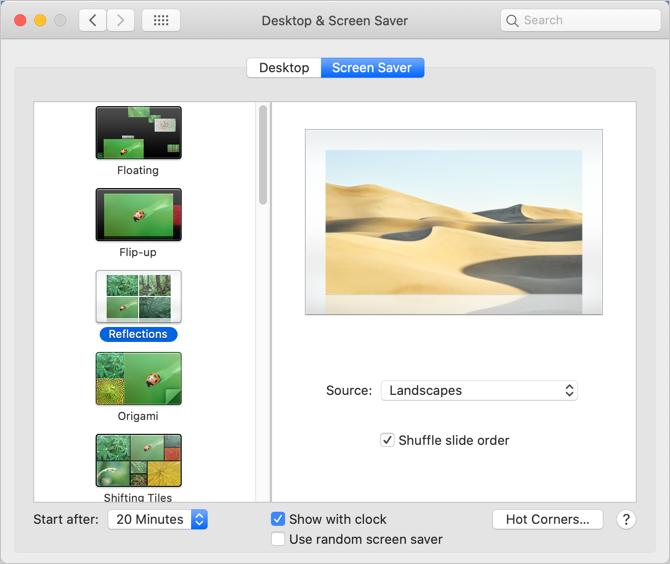 Setup Screen Saver in Mac