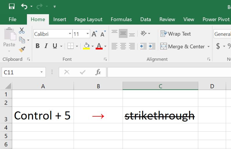 Strikethrough Shortcut in Excel
