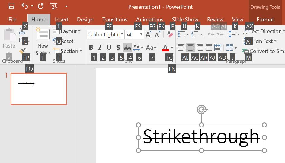 Strikethrough Shortcut in PowerPoint