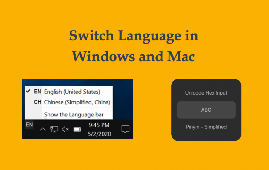 Keyboard Shortcut to Switch Language in Mac and Windows 10