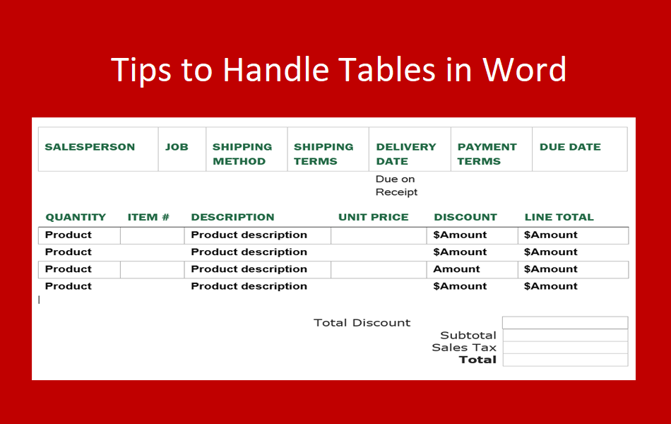 Tips to Handle Tables in Word