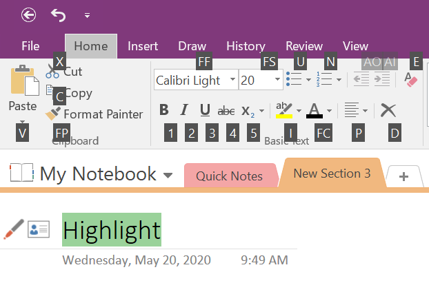 Toggle Keyboard Shortcut in OneNote