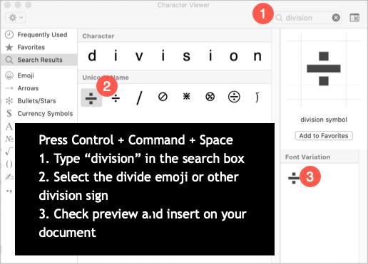 Type Division Symbols in Mac