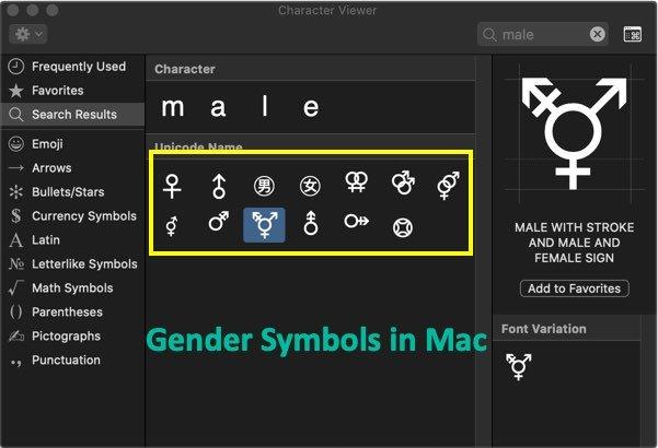 Type Gender Symbols in Mac