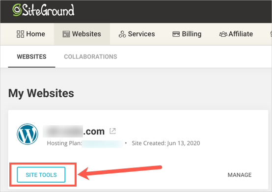 Access Site Tools in SiteGround