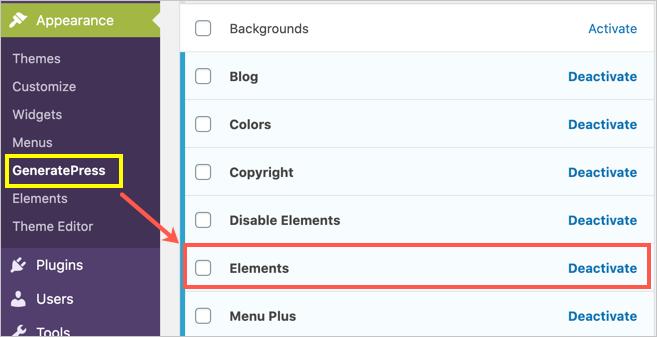 Activating Elements in GeneratePress