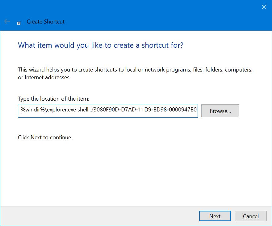 Add Show Desktop Shortcut