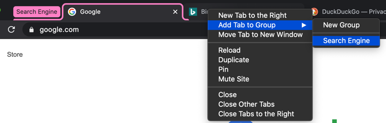 Add Tabs to Group