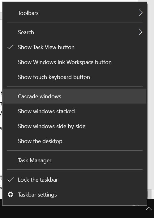 Arrange Windows from Taskbar Menu