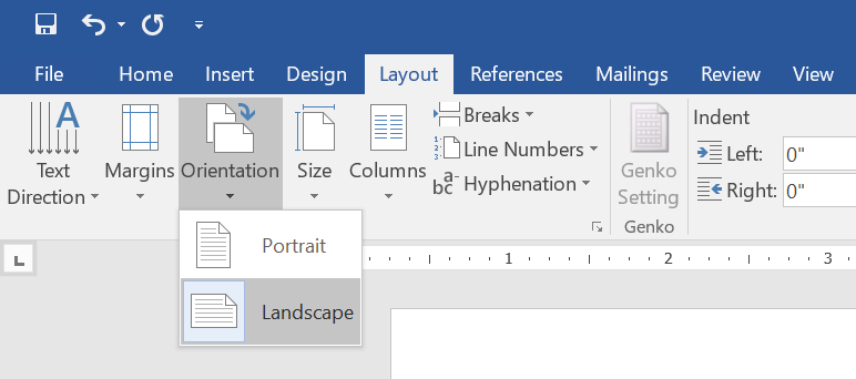 Change Orientation of Page in Word