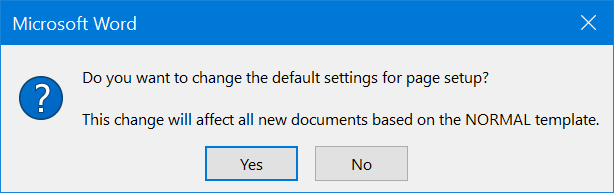 Confirm Changing Default Layout