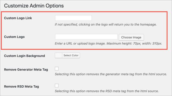 Customize Admin Options
