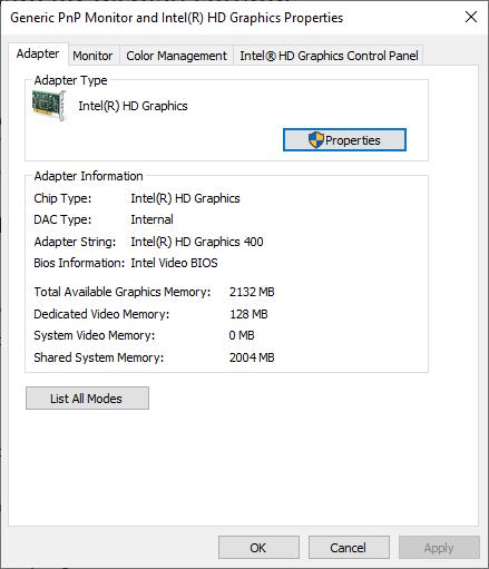 Dedicated Video Memory