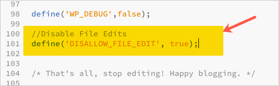 Disable File Edit in WP Config File