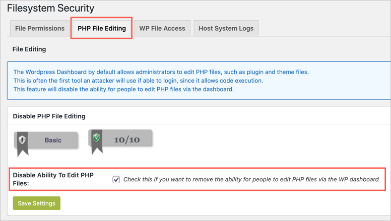 Disable File Editing in Security Plugin