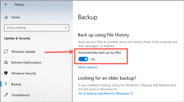 Enable Automatic Backup