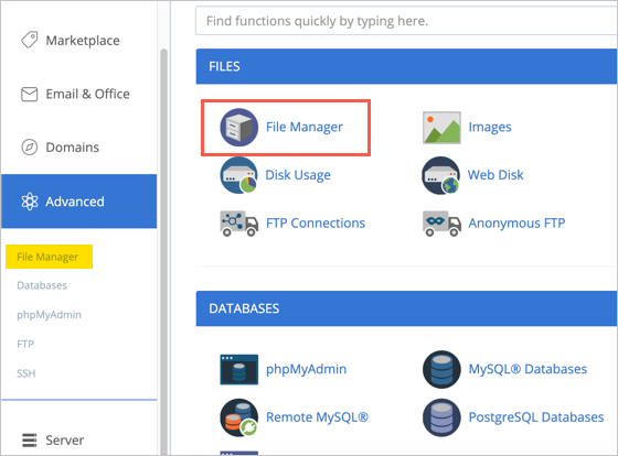 File Manager Option in Bluehost