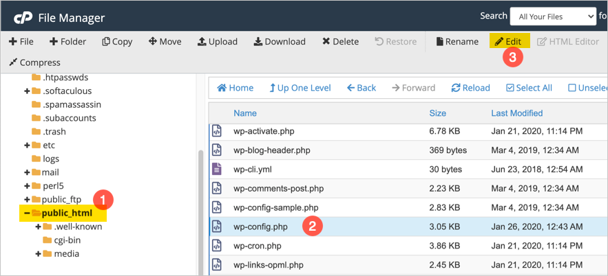 Find WP Config File in File Manager