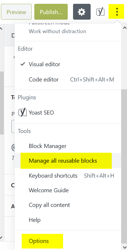 Manage Reusable Blocks