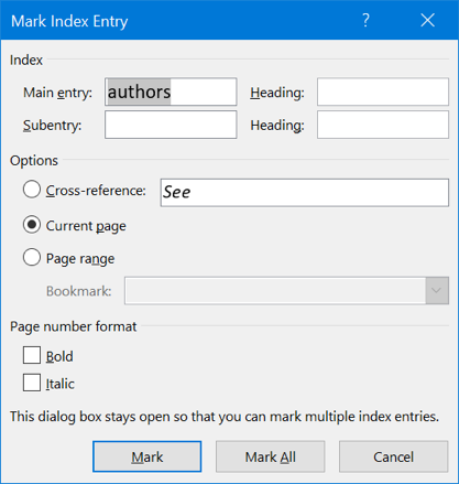 Mark Index Entry Options