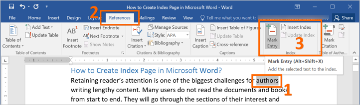 Mark Index Entry in Word