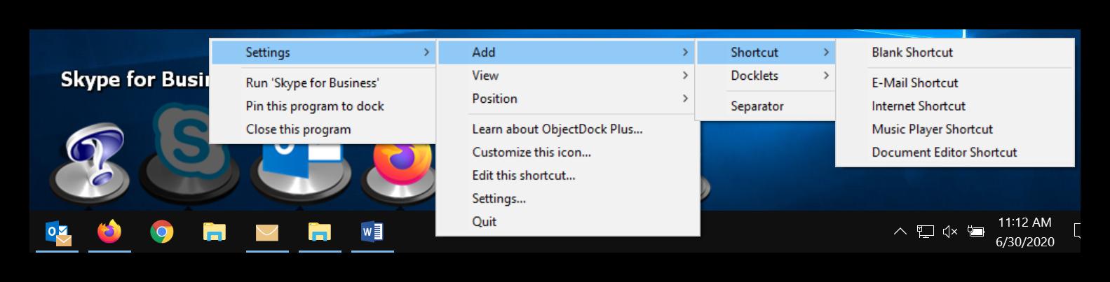 ObjectDock Settings