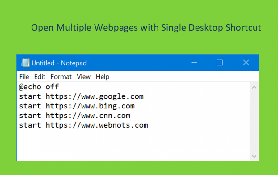 Open Multiple Webpages with Single Desktop Shortcut