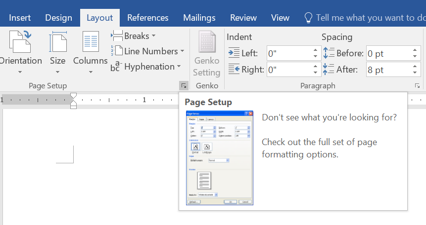 Open Page Setup in Word