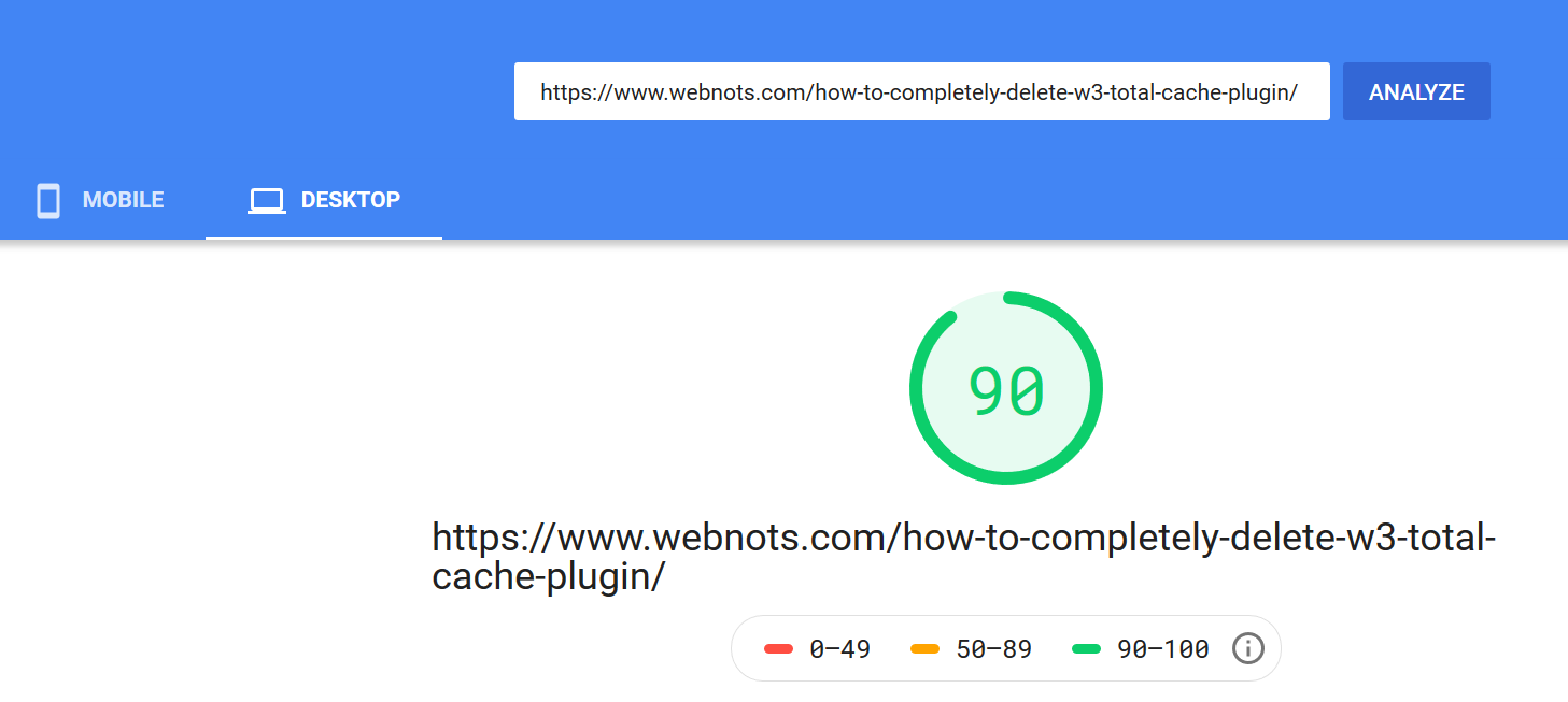 PageSpeed Score of Another Page