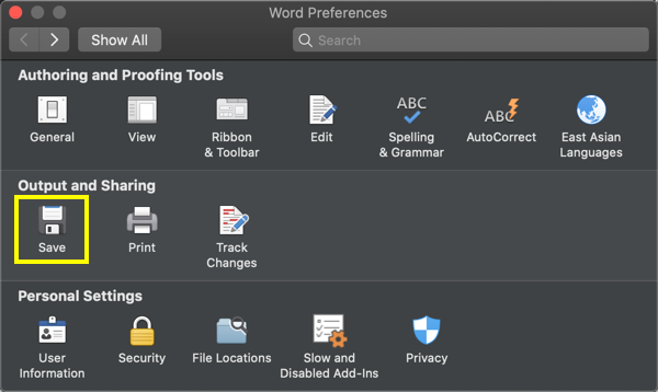 Save Preferences in Word Mac