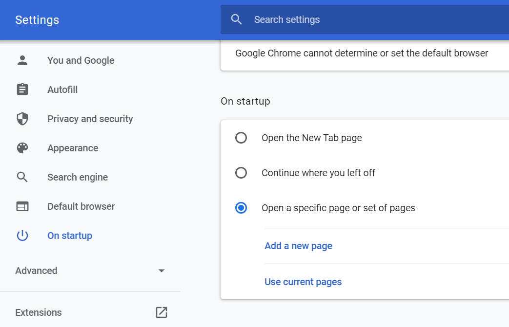 Setup Multiple URLs in Chrome