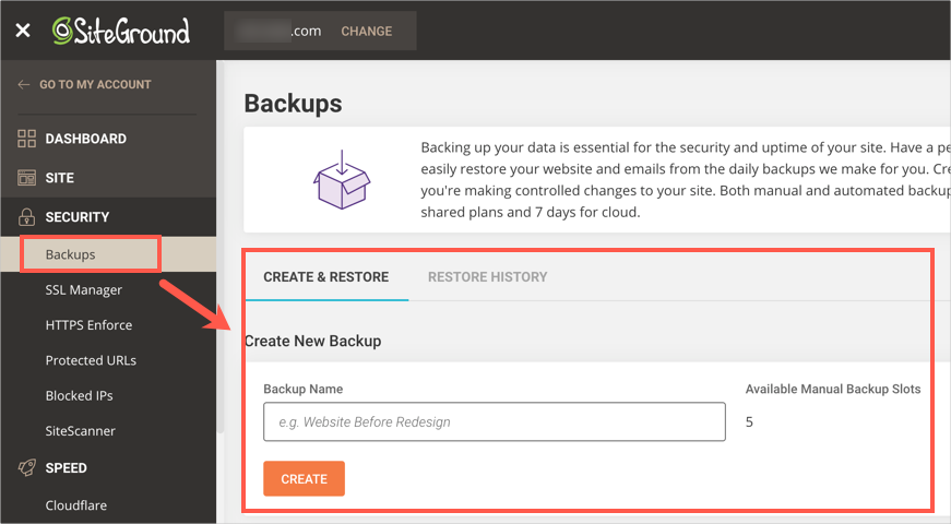 SiteGround Backups Option in Site Tools