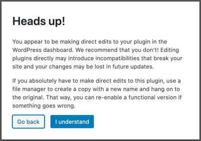 Plugin Editor Warning Popup