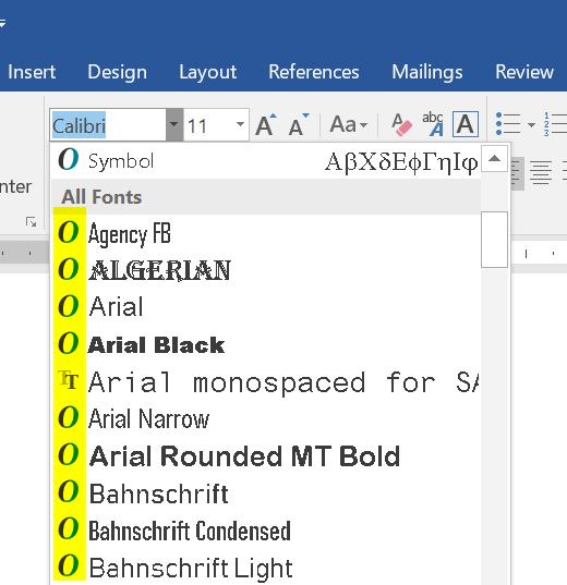TrueType or OpenType Fonts