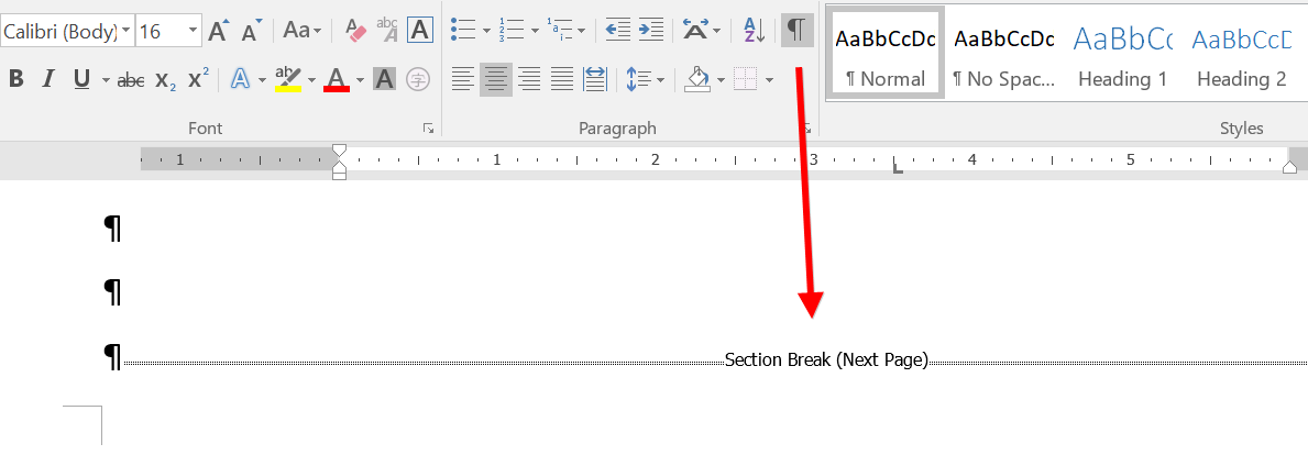 View Section Breaks