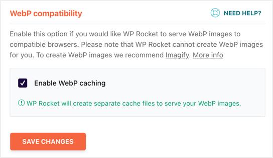 WebP Caching in WP Rocket