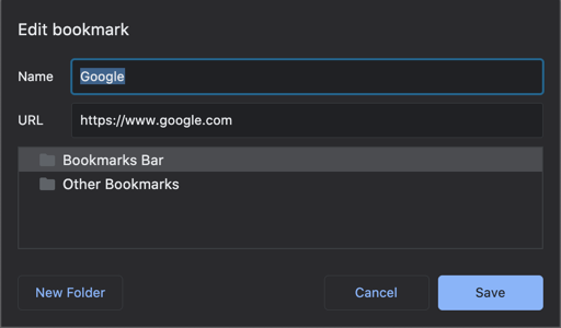 Add Bookmark in Chrome Bookmarks Bar