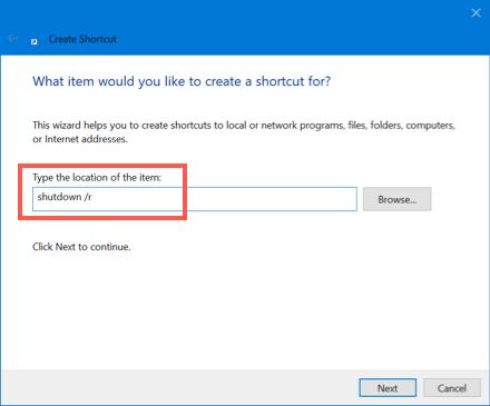 Add Desktop Shortcut for Restart
