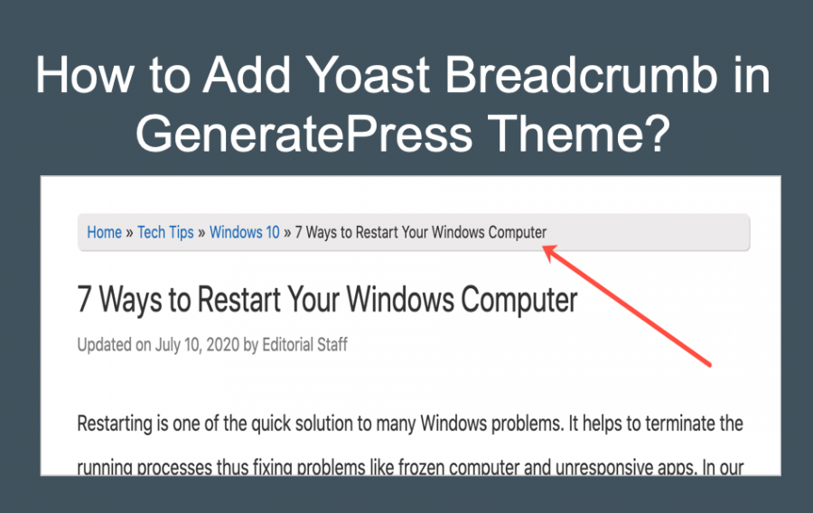 Add Yoast Breadcrumb in GeneratePress Theme