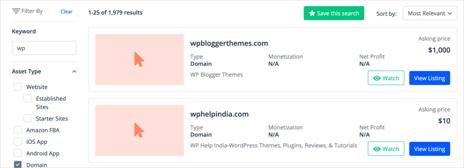 Check Old Domains from Flippa