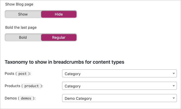 Choose Options for Yoast Breadcrumb