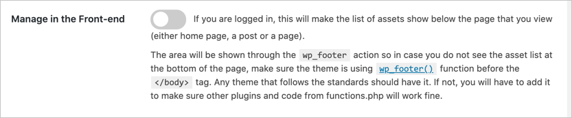 Enable or Disable Manage in Frontend