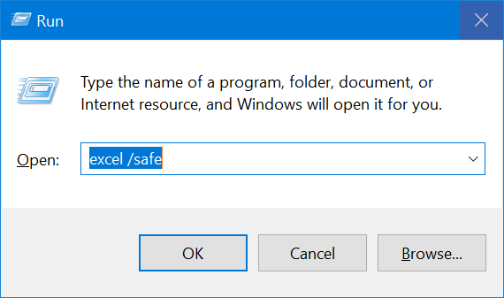 Launch Excel in Safe Mode from Run Prompt