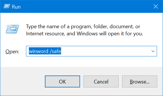 Launch Word in Safe Mode from Run Prompt