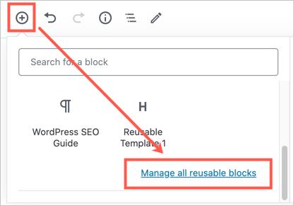 Manage Reusable Blocks in WordPress