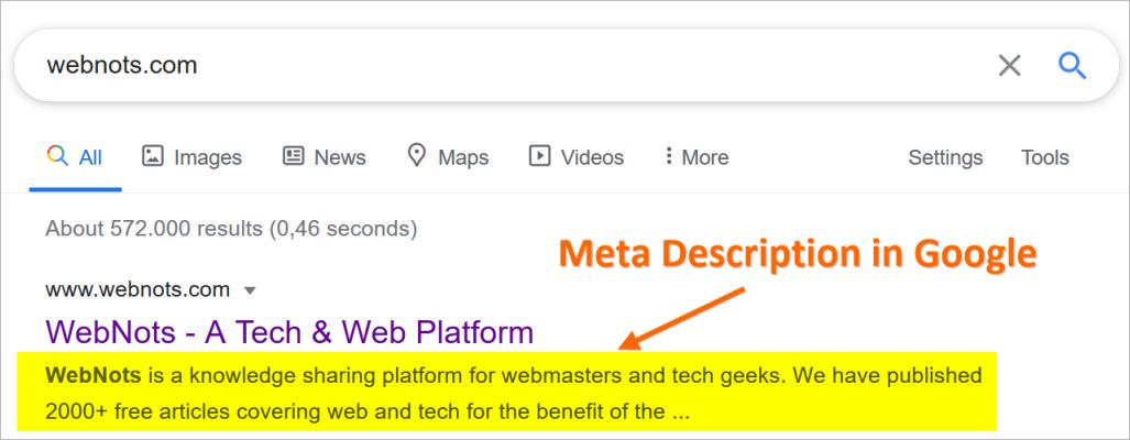 Meta Description in Google