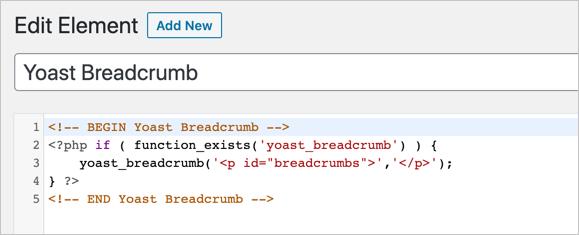 Paste Yoast SEO Breadcrumb Code